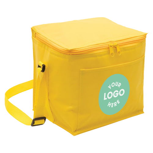 Yellow small cooler with pocket