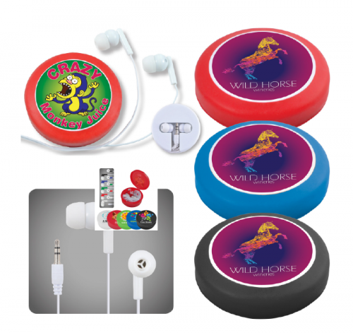 Headphone SeT in Silicone Case with Cord Retainer